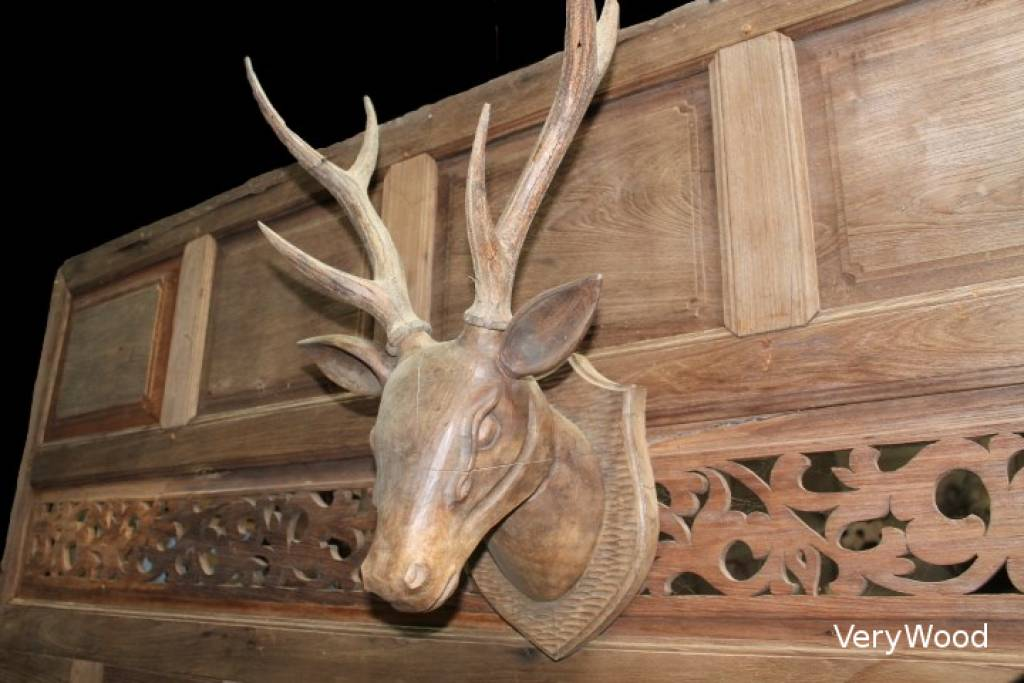 3d Deer Head Wood